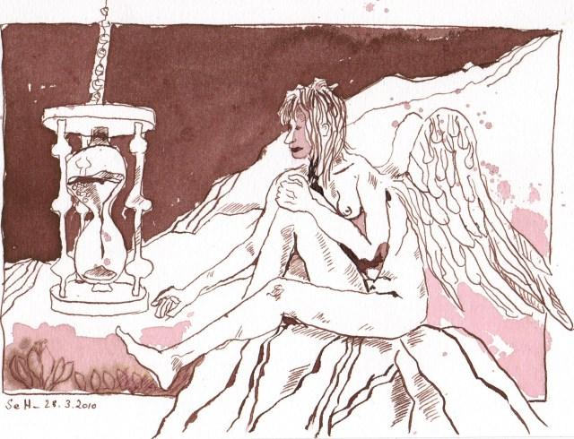 Die Zeit der Engel - Zeichnung von Susanen Haun, 17 x 24 cm - Tusche auf William Turner Hahnemühle Aquarellkarton