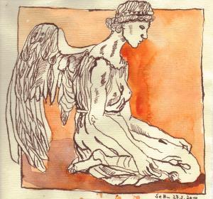Engel im flammenden Feuer - Zeichnung Susanne Haun - 19 x 19 cm - Tusche auf Silberburg Bütten