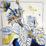 Gerdas Blumenstrauß - Zeichnung von Susanne Haun - 25 x 25 cm - Tusche auf Bütten
