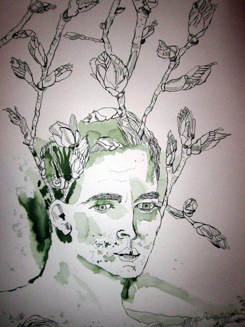 Blumige Gedanken - Auschnitt Rolle von Susanne Haun - 50 x 40 cm - Tusche auf Bütten