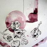 Stillleben mit Rosen und Krügen - Zeichnung von Susanne Haun - 25 x 25 cm - Tusche auf Bütten