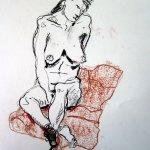 Akt 3 vom 25.4.2010 - Zeichnung von Susanne Haun - 42 x 59,4 cm - Kohle auf Römerturm Skizzenpapier