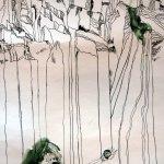 Berge mit Berggöttin - Ausschnitt Rolle Susanne Haun - 60 x 40 cm - Tusche auf Bütten