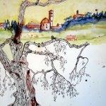 Entstehung Zeichnung Volterra mit Olivenbaum - Zeichnung von Susanne Haun