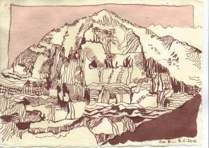 Die Eiger Nordwand - Zeichnung von Susanne Haun - 15 x 20 cm - Tusche auf Bütten