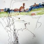 Entstehung Volterra mit Olivenbaum - Zeichnung von Susanne Haun