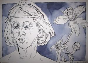 Zitronenfrau II - Zeichnung von Susanne Haun - 26 x 36 cm - Tusche auf Bütten