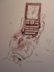 Ich und mein Handy - Zeichnung von Susanne Haun - 30 x 20 cm - Tusche auf Bütten