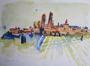 San Gimignano - Aquarell von Susanne Haun - 30 x 40 cm