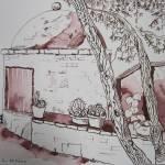 Backofen in der Toskana - Zeichnung von Susanne Haun - 26 x 36 cm - Tusche auf Bütten