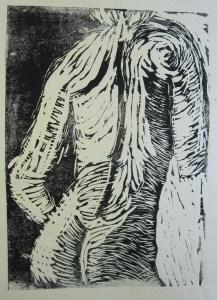 Akt mit Handtuch - Linoldruck von Susanne Haun - 7/12 - 18 x 13 cm