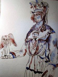 Entstehung Athena - Zeichnung von Susanne Haun - 48 x 36 cm - Tusche auf Bütten