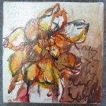 Blume - Zeichnung von Susanne Haun - 20 x 20 cm - Tusche auf Leinwand - gefirnist