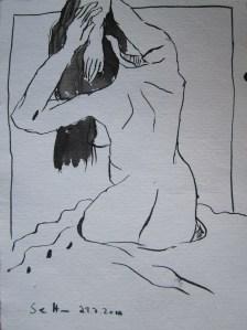 In der Badewanne - Zeichnung von Susanne Haun - 20 x 15 cm - Tusche auf Bütten