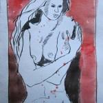 Mir ist kalt - Zeichnung von Susanne Haun - 20 x 15 cm - Tusche auf Bütten