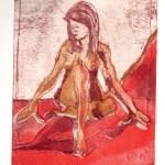 Akt sitzend nach links schauend - Aquatinta von Susanne Haun, 3 Platten, 20 x 15 cm