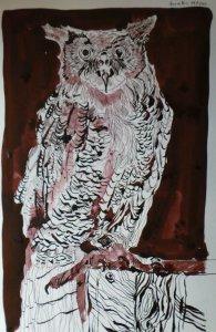 Eule - Zeichnung von Susanne Haun - 40 x 25 cm - Tusche auf Bütten - Mit Handy fotografiert, da der geborgte Laptop keine SD Karte liest