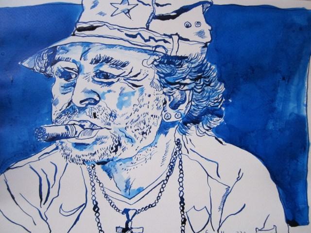 Maradona - Zeichnung von Susanne Haun - 22 x 34 cm - Tusche auf Bütten