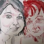 Madeleine und ich - Zeichnung von Susanne Haun - 30 x 40 cm - Tusche auf Bütten
