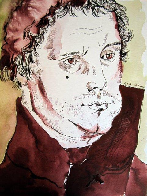 Luther - Zeichnung von Susanne Haun - 40 x 30 cm - Tusche und Aquarell auf Bütten