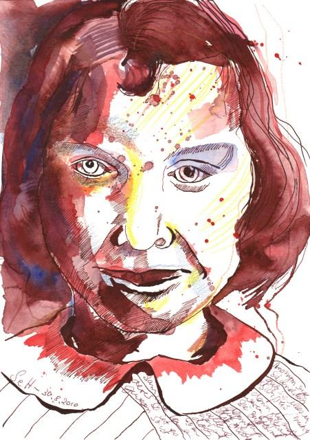 Mama bei der Einschulung - Zeichnung von Susanne Haun - 17 x 22 cm - Tusche auf Hahnemühle Selection