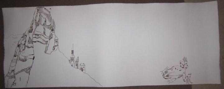 Entstehung Ithas Insel - 40 x 100 cm - Zeichnung von Susanne Haun - Tusche auf Hahnemühle Bütten