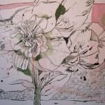 Blume an Gedächtniskirche - Zeichnung von Susanne Haun - 30 x 40 cm - Tusche und Aquarell auf Bütten