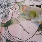 Ausschnitt Blume an Gedächtniskirche - Zeichnung von Susanne Haun - 30 x 40 cm - Tusche und Aquarell auf Bütten