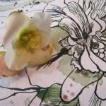 Ausschnitt Blume an der Gedächtniskirche - Zeichnung von Susanne Haun - 30 x 40 cm - Tusche und Aquarell auf Bütten