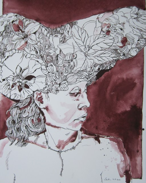 Ich mit Hut - Zeichnung von Susanne Haun - 80 x 60 cm - Tusche auf Bütten