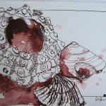 Stillleben Seeigel mit Muscheln - Zeichnung von Susanne Haun - 17 x 22 cm - Tusche auf Bütten