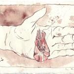 Krabbe in Julians Hand - Zeichnung von Susanne Haun - 15 x 20 cm - Tusche auf Bütten