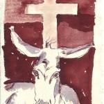 Es braucht einen Esel, der dieses Kreuz tragen kann - Zeichnung von Susanne Haun - 20 x 15 cm - Tusche auf Silberburg Bütten - Sammlung Itha Bonitz