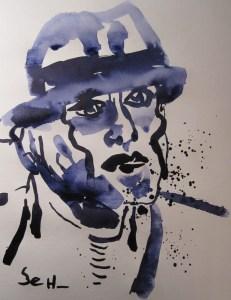 Beuys II - Zeichnung von Susanne Haun - 40 x 30 cm - Tusche auf Bütten