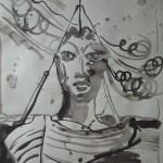 Laertes: Und, Schwester, wenn die Winde günstig sind - Zeichnung von Susanne Haun - 70 x 50 cm