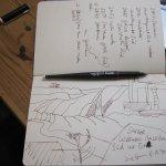 Die erste Skizze, die vor Ort entstand und meine Notizen - Susanne Haun