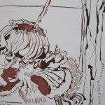 Verblühte Stockrose (Malve) - Zeichnung von Susanne Haun - 17 x 22 cm - Tusche auf Bütten