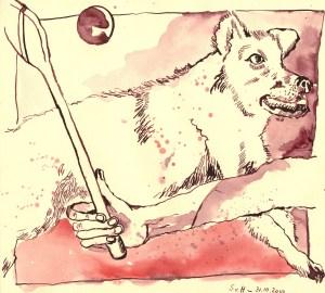 Er warf seine Kugel in die Höhe - Zeichnung von Susanne Haun - 21 x 30 cm - Tusche auf Lana Bütten