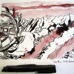 3. Zeichnung von Susanne Haun, das gesammelte Kohlestück im Vordergrund