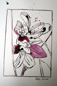 Herbstzeitlose - Zeichnung von Susanne Haun - 20 x 15 cm - Tusche auf Bütten