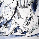 Fische - Zeichnung von Susanne Haun - 17 x 22 cm - Tusche auf Bütten
