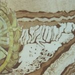 2. Kolorierte Radierung Welzow mit gelber Aquarellfarbe von Susanne Haun