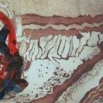 4. Kolorierte Radierung Welzow mit roter und indigo Tusche von Susanne Haun