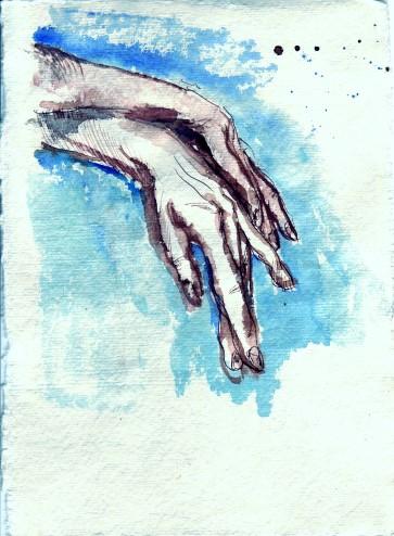 Die eleganten, graziellen Hände einer Balletttänzerin - 2006 - Zeichnung von Susanne Haun - Tusche auf Silberburgbütten