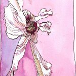 Der Tanz des Alpenveilchen 1 - Zeichnung von Susanne Haun - 25 x 28 cm - Tusche auf Bütten