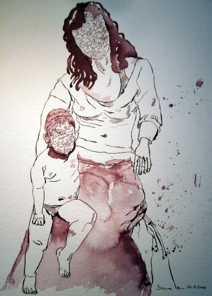 Maria mit Kind (Version 4 - Heilig) - Zeichnung von Susanne Haun - Tusche auf Bütten - 40 x 30 cm
