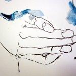 Marias Hände beschützen das Baby Jesus - für mich ein wichtiges Element in der Zeichnung von Susanne Haun