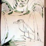 Der Vogel - egal ob Rabe, Möwe, Sperlin - einfach der Vogel auf der Hand des Engels - Entstehung Zeichnung Susanne Haun - 1000 x 40 cm
