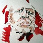 Entstehung Zeichnung Klaus Kinske von Susanne Haun - das Krapprot von Rohrers und Klinger ist einfach genial