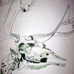 Elchskelett von von der Rolle - Zeichnen von Susanne Haun - 1000 x 40 cm - Tusche auf Bütten
